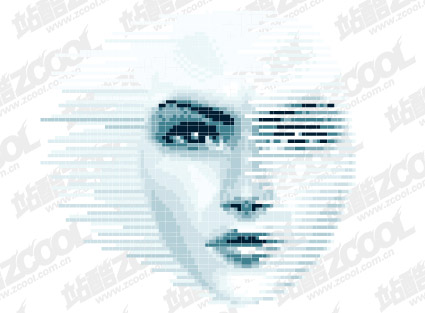 Women face vector of digital material. File Format:.ai