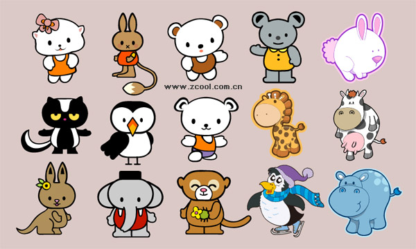Cartoon animals vector material -2. File Format:.ai