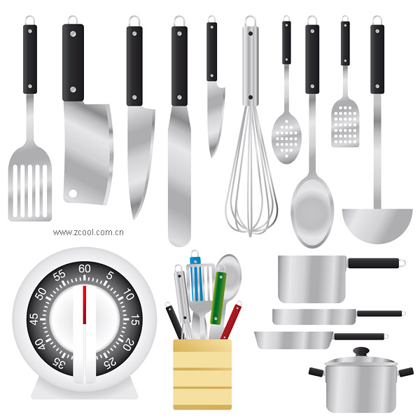 Kitchen Utensils Set Vector Material_Download Free Vector,3D Model