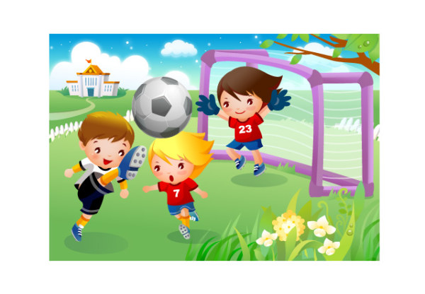cartoon images of children playing. Children playing football motion vector material. File Format:.ai