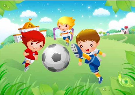 Children's football Vector material 2. File Format:.ai