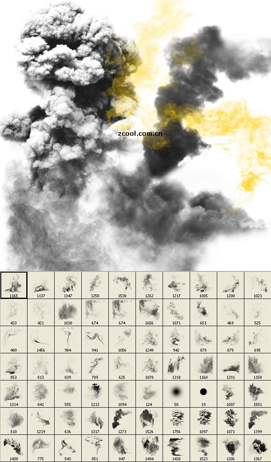 PS brushes -1 smoke effect! Do flames, ink!_Download free