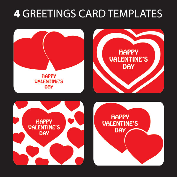 Valentines Day heartshaped greeting card template vector – Valentine Cards Templates Free