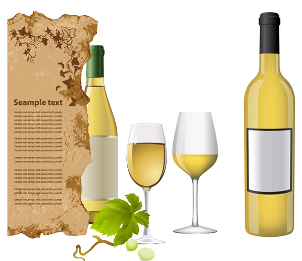 White wine bottle and glasses vector material_Download free