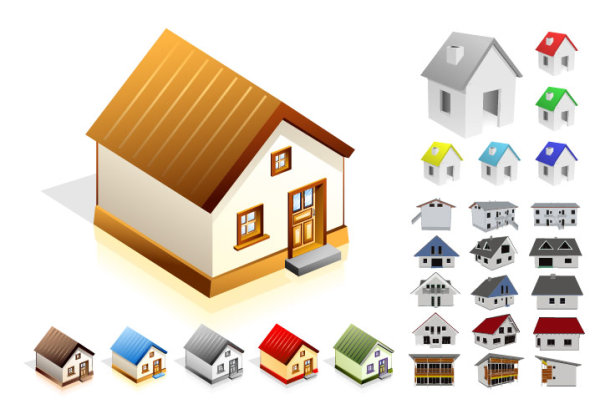 Small house vector material_Download free vector,3d model,Icon