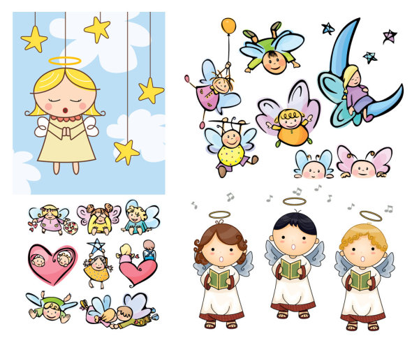 Vector cartoon angel_Download free vector,3d model,Icon