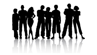 Young People silhouettes vector material_Download free ...
