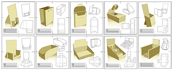 10 packaging design and rule die document vector material for Adobe illustrator packaging templates