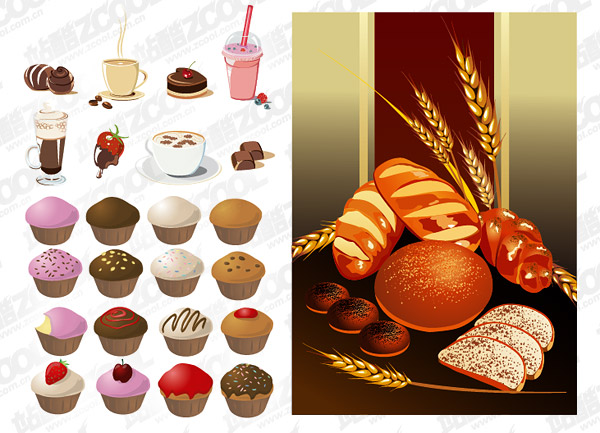 Cakes bread beverage and other vector material download for Kuchen design programm