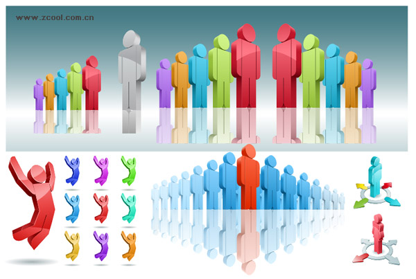 a variety of 3d human vector material download free vector