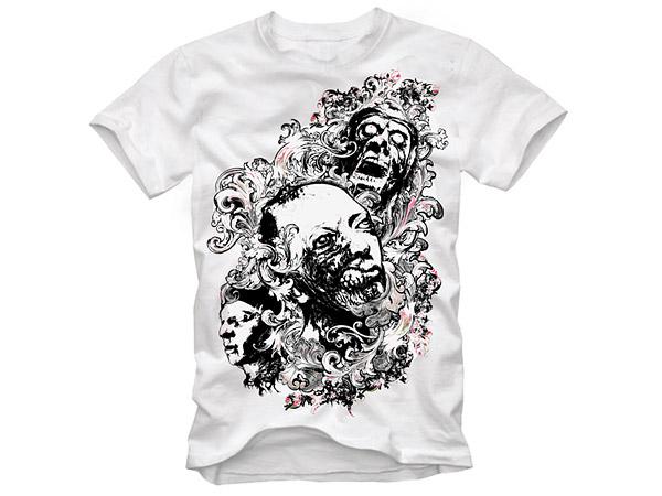 Trend Pattern Skull T Shirt Design Vector Material