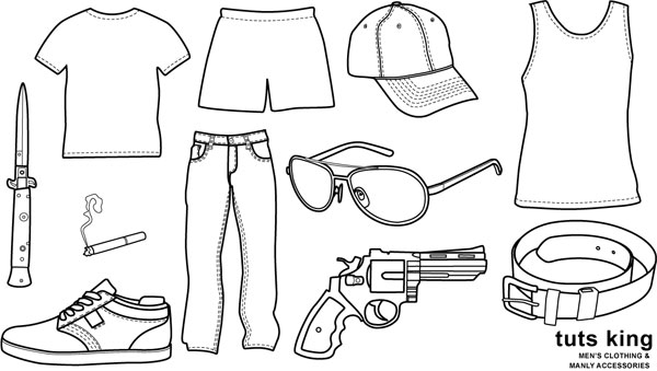 Line Drawing Jacket : Male clothing items to wear line drawing vector material