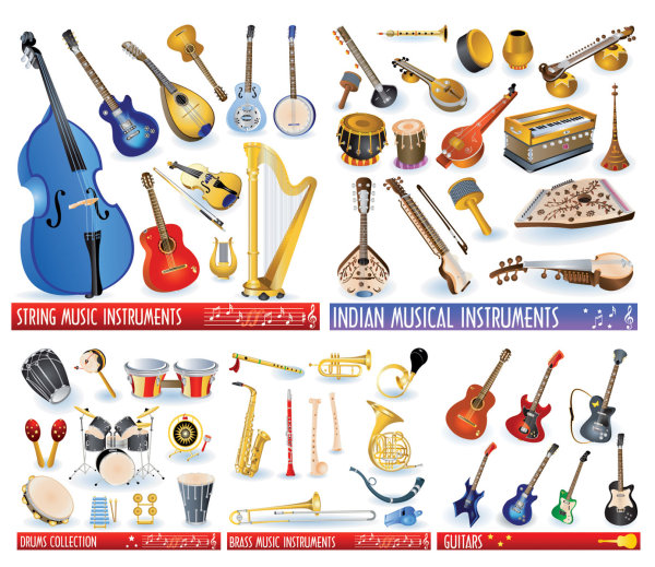 Vector material of various musical instruments_Download free vector 3d model Icon youtoart com