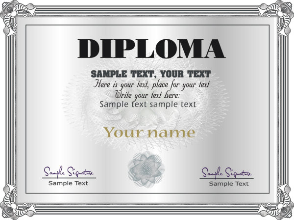 Gorgeous diploma certificate template 05 - vector