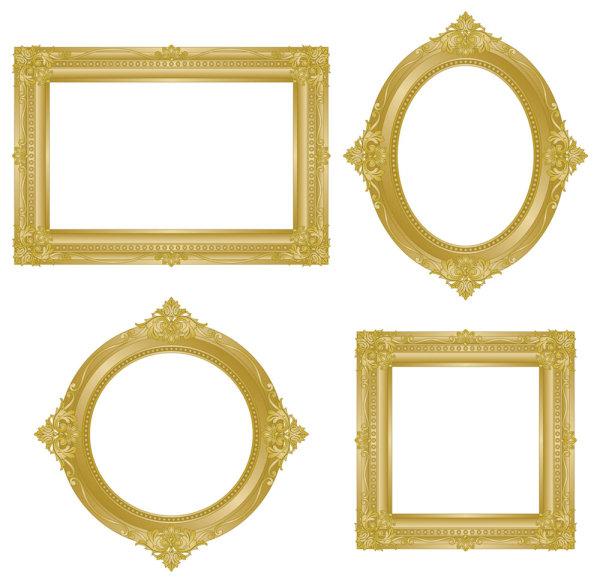 Antique gold frame 02  Vector_Download free vector 3d