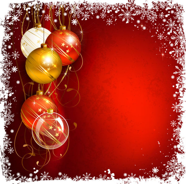 Beautiful Christmas Balls Background 03 Vector