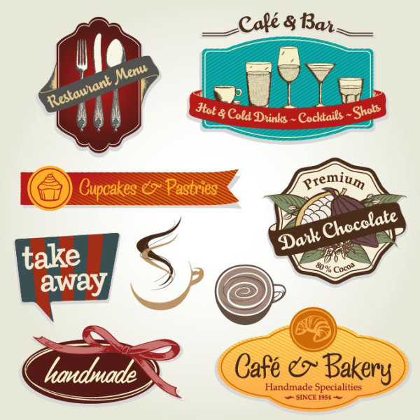 Restaurant menu label template 02 - vector material