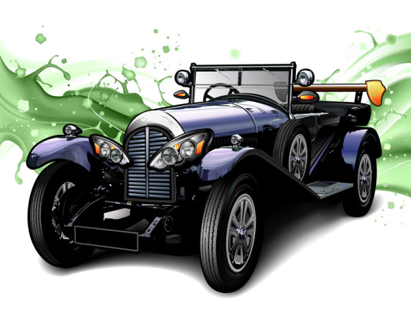 Cartoon classic cars 01 - vector material