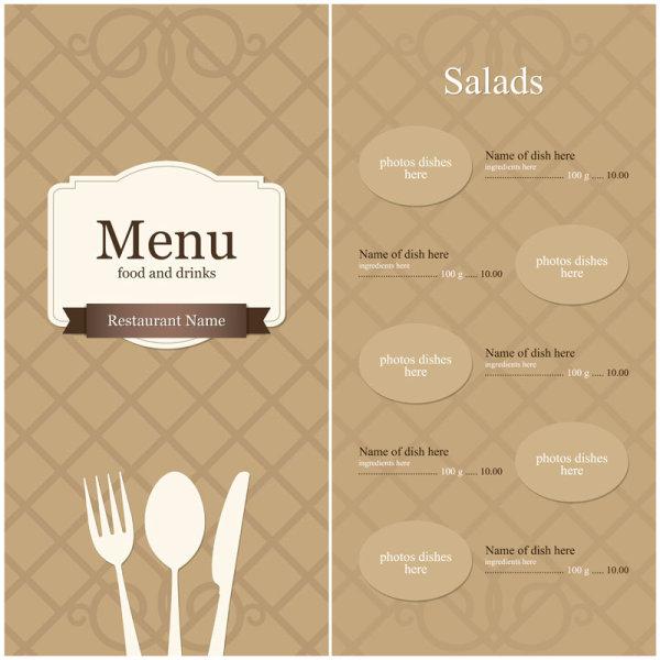 continental menu template 10 vector material download free vector