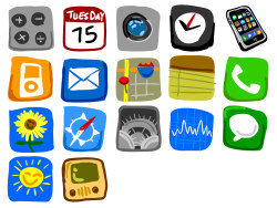 Iphone cell phone in hand-painted icon png