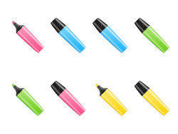 Multi-color oil-based pen icon png