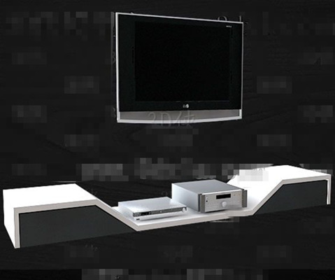 Silver And White Unique Tv Cabinet Vector Model
