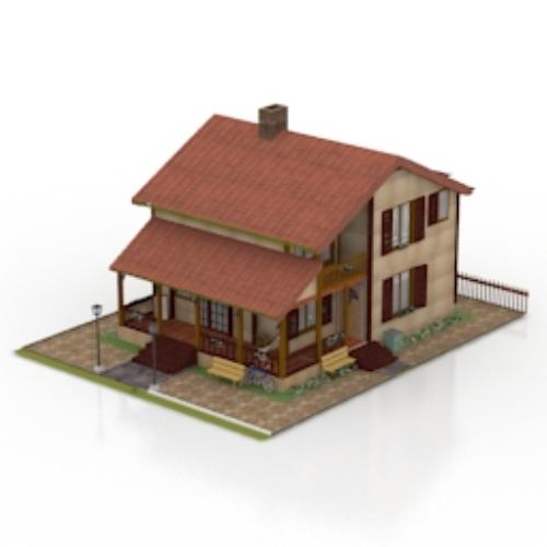 3d model of a modern villa download free vector 3d model for Model villa moderne