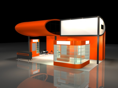 Exhibition Stand 3d Free Download : Orange creative exhibition hall d model download free