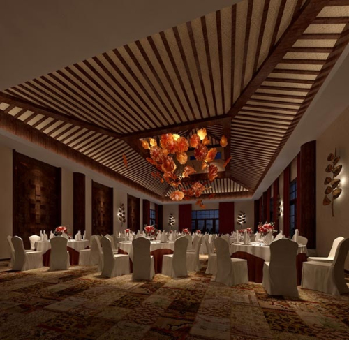 Hotel banquet hall in 3D_Download free vector,3d model,Icon