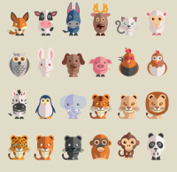24, a flat fine animal vector material