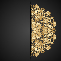 Gold lace pattern background vector material