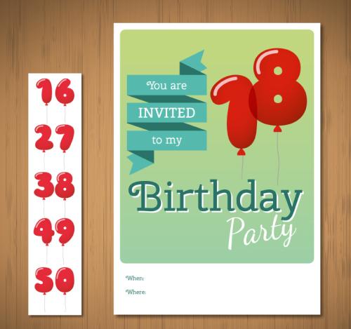 Digital Balloon Birthday Invitation Cards Vector