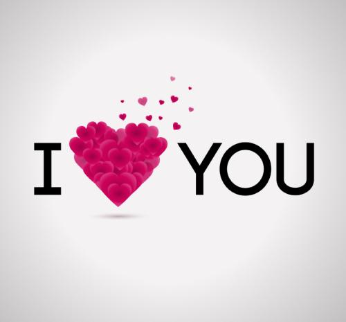 I Love You Word Art Design Vector Material