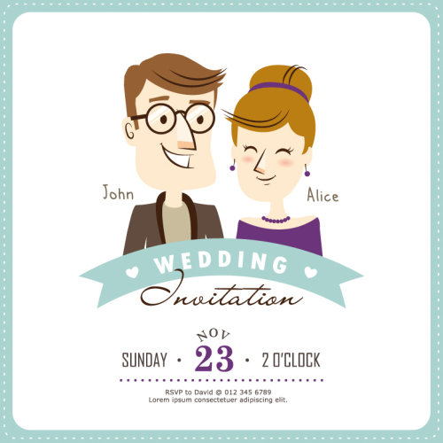 Creative Wedding Invitation Card Cartoon Characters Vector
