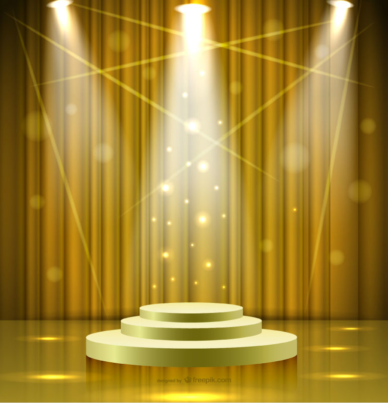 shiny golden spotlight stage vector materialdownload free