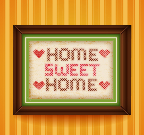 sweet home cross stitch paintings vector material download free vector 3d model icon. Black Bedroom Furniture Sets. Home Design Ideas