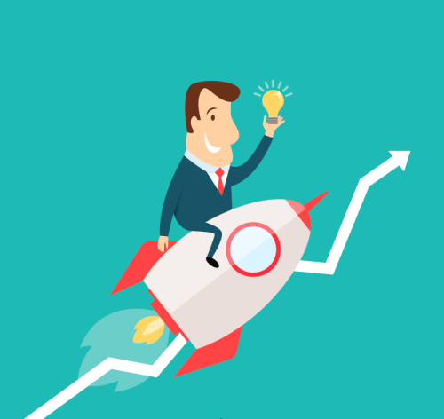 Business Man Riding A Rocket Vector Material Download Free