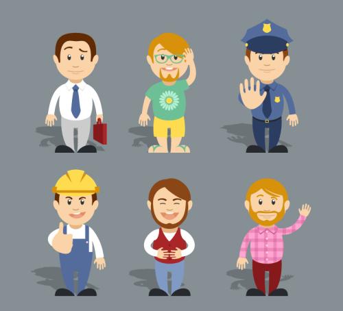 6 Cartoon Career Figures Vector Download Free Vector 3d Model Icon Youtoart Com