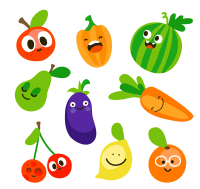 9 Lovely fruits and vegetables vector material
