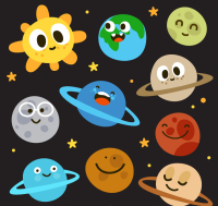 Cartoon sun and nine planets vector material