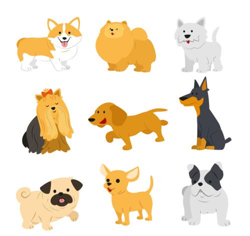 9 cute pet dog vector material_Download free vector,3d model