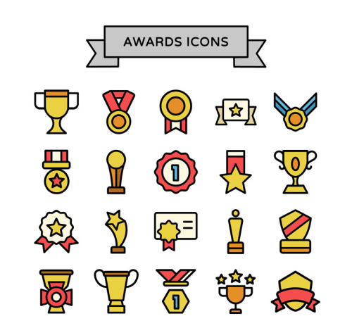 20 paragraph Trophy awards icon vector material_Download