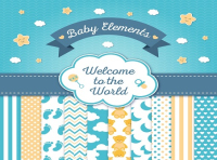 cute baby shower card elements vector